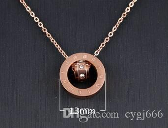 Europe and the United States Roman Titanium Steel Necklace Falling Chain Bone Chain Women 's 18k Rose Gold Necklace