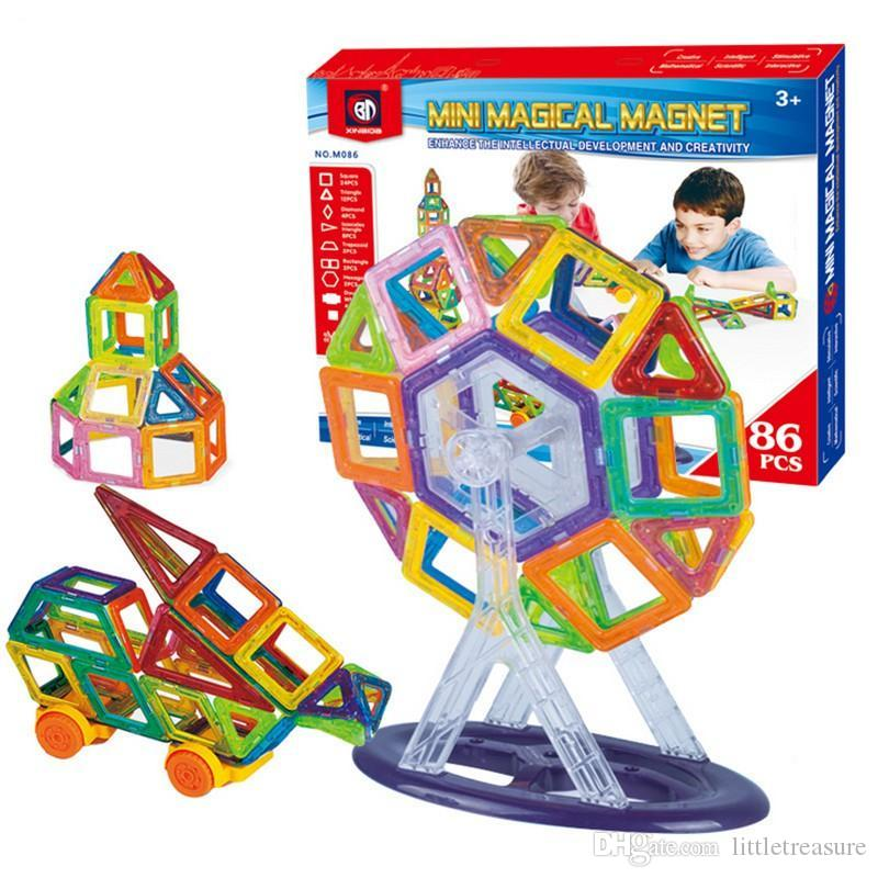 86 PCS Set Magnetic Building Blocks Kids Magnet Construction Toy Rainbow Color for Creativity Educational Children's Christmas Gift wit