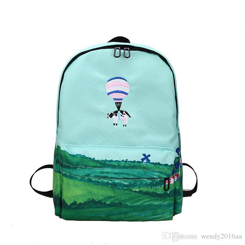 2017 Sonbahar Taze Karikatür Ayı Hayvan Sıcak hava balon işlemeli Rahat Okul Çantaları Kadın Tuval Sırt Çantası Fermuar Çanta