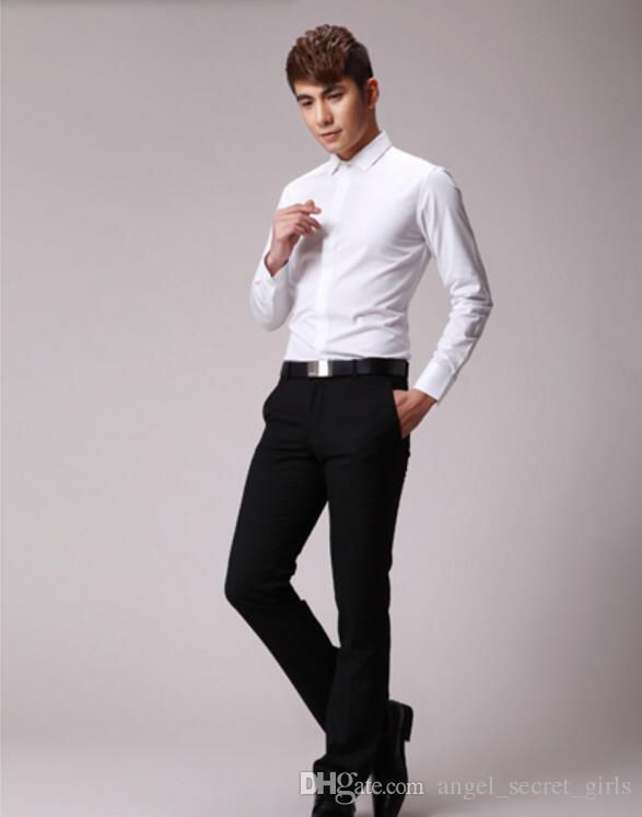 Por encargo camisa de los hombres del novio de la boda camisa de alta calidad blanca cómoda camisa formal de negocios de manga larga