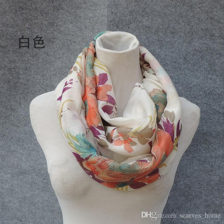 2017 New Design Flower Print Voile Cotton Infinity Scarf Fashion Circle Scarf Large Size Long Scaves Women around Scarfs