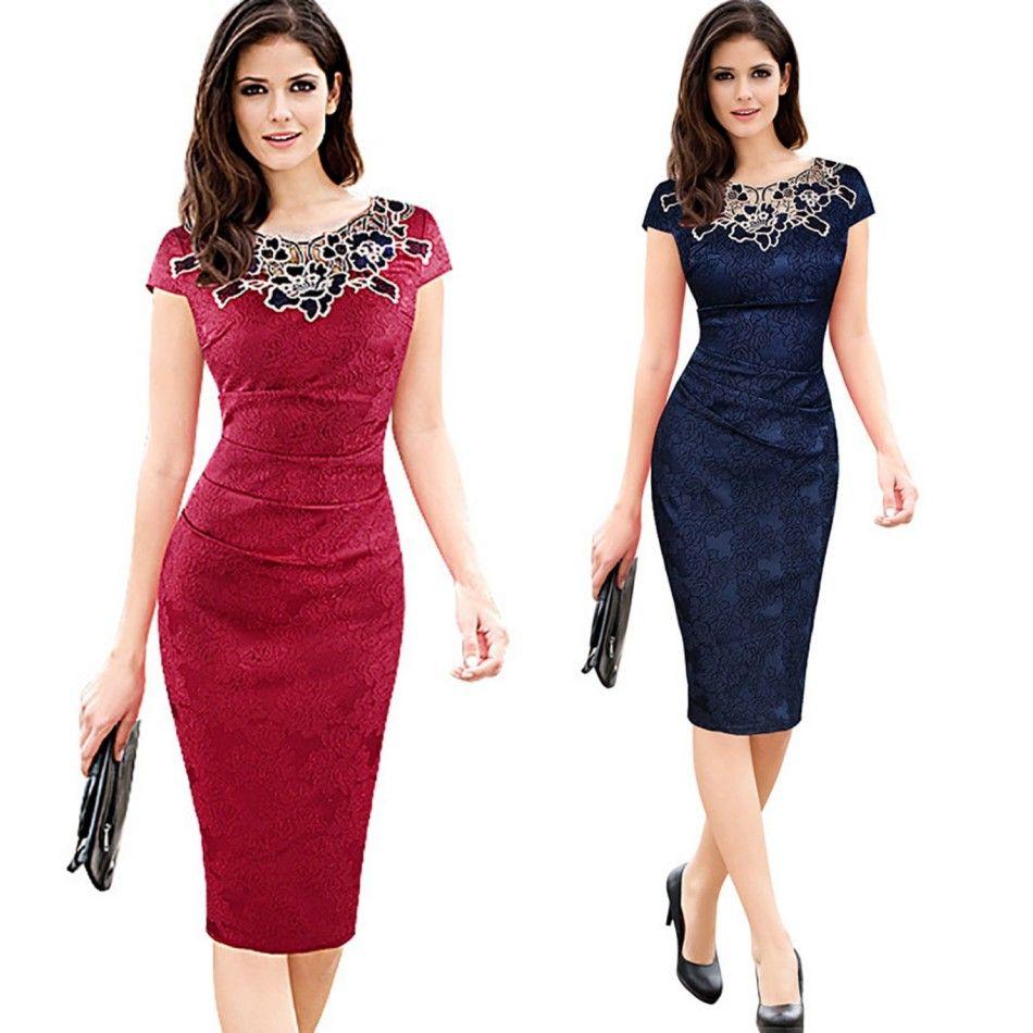 2017 Casual Summer Blue Lace Retro Work Dress Vestidos Bodycon