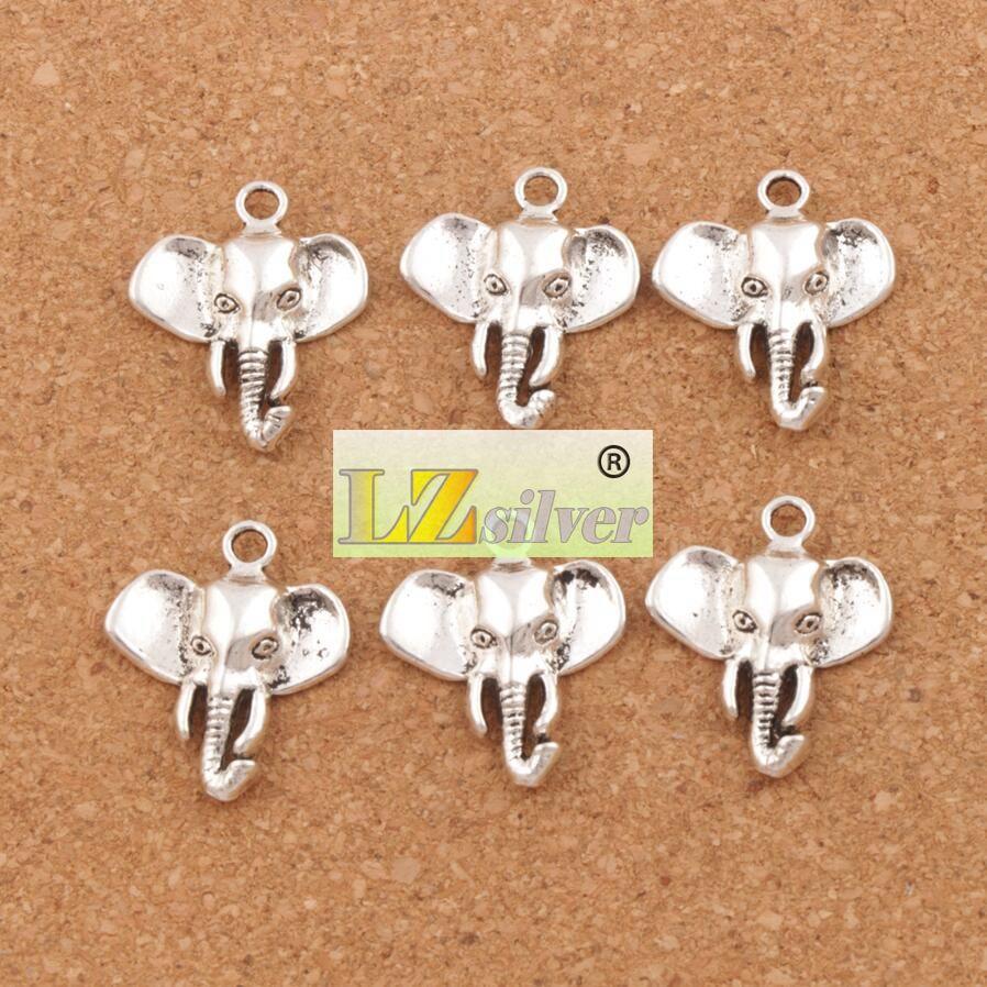 Cabeça de elefante Encantos Pingentes 100 pçs / lote 22x25.8mm Antique Silver Moda Jóias DIY Fit Pulseiras Colar Brincos L1184