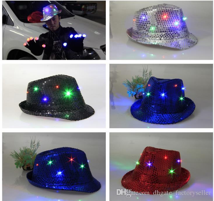 LED Jazz Cappelli Lampeggiante Led Fedora Trilby Paillettes Cappellini Fancy Dress Dance Party Cappelli uomo Festa di Natale Costumi di Carnevale