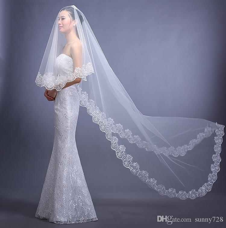 Cheap One Layer 3m Long Lace Applique Wedding Veils With Comb White Iovry Elegant Bridal Accessories In Stock 2017 Hot Sale Cathedral Length Veil