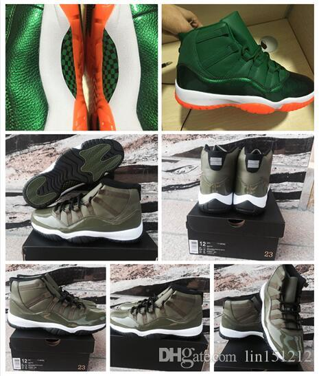 8608976b4969 Wholesale 2017 New 11 Olive Green White Black Fashion Men Basketball Shoes  Cheaper Air Men With High Top 11s Sports Training Sneakers Shoes Brands ...