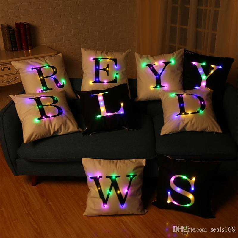 جديد led ضوء مضيئة pillowcase 26 الكلمات إلكتروني اللمعان أريكة وسادة وسادة القضية ديكور المنزل حزب ديكور HH-P12