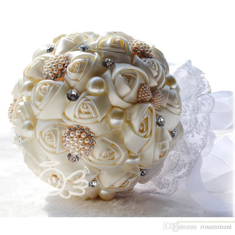 Новые оптовые 4 цвета жемчуга Брошь Кристалл Букет свадебный букет невесты Свадебные букеты жемчужные атласные цветы