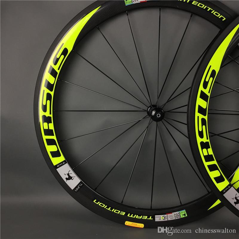 Bicicleta de carretera de 50 mm El equipo URSUS eoition flo amarillo ruedas de fibra de carbono completa ruedas de bicicleta con eje motriz R13 / R36 / R36 / novatec 271/291