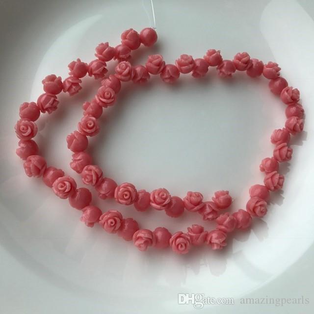 Rojo Rosa Blanco Mar Natural Coral Piedras Preciosas Espaciador Perlas Sueltas en Cadena Temporal Rosa Flor de Coral Joyería Apta DIY