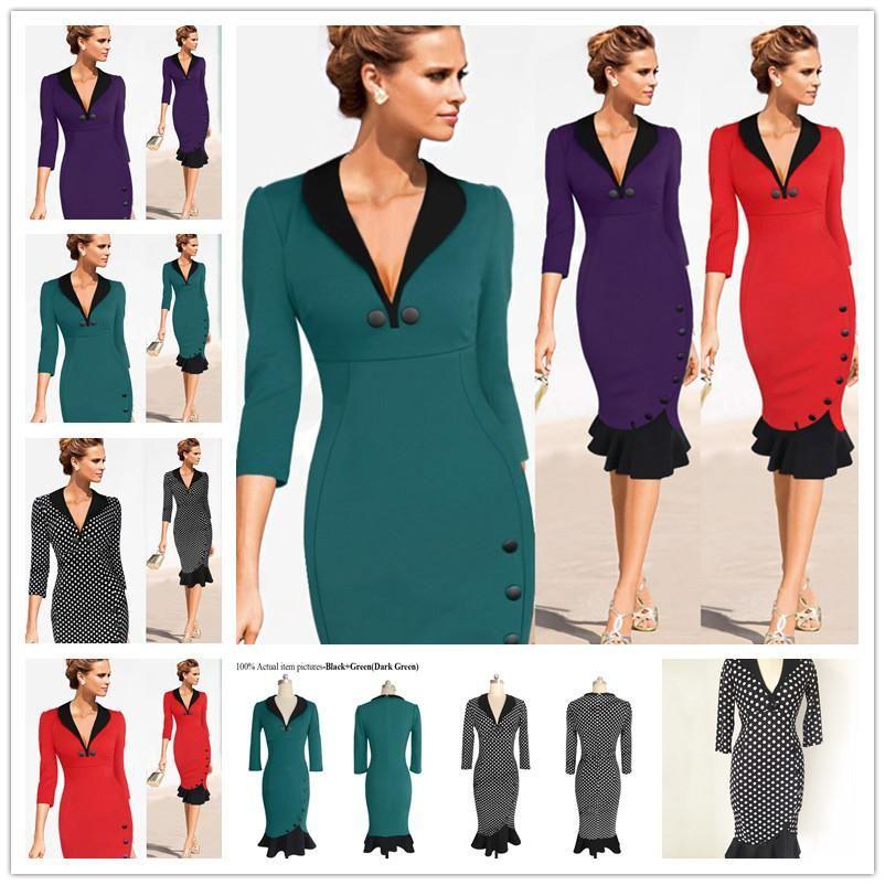 2017 New Women Elegant Vintage Autumn Pocket Wear To Work Office