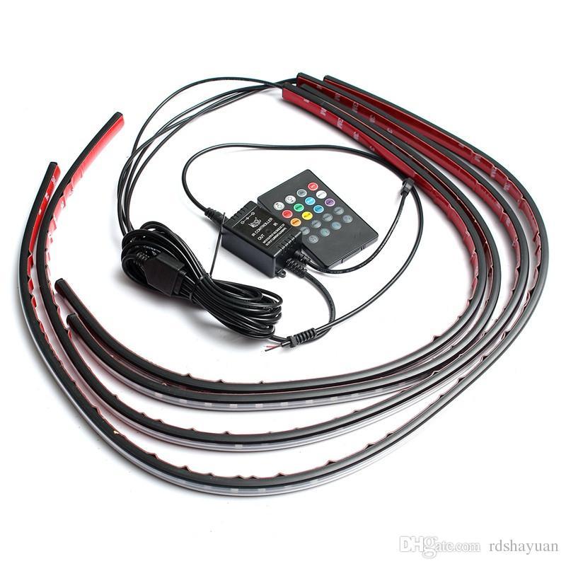 DC12V 4x 방수 RGB 5050 SMD 유연한 LED 스트립 자동차 튜브 언더 그 로브 Underbody 시스템 네온 라이트 키트 원격 제어