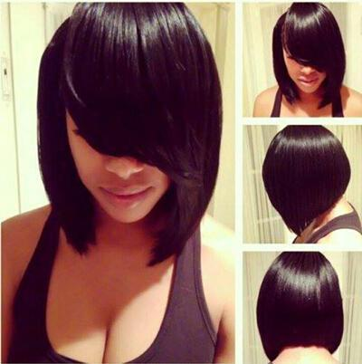 Xiu Zhi Mei Top Quality Straight Bob Wig Glueless None lace Bob Wigs With Side Bang For Black Women perruque courte Cut Natural Hairlineen