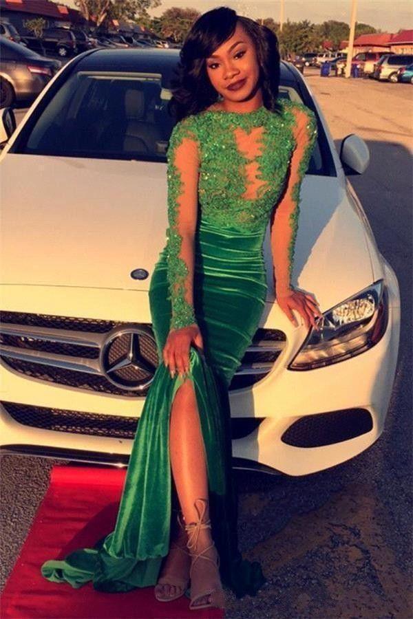 2017 Modest African Long Sleeve Mermaid Prom Dresses Velvet Side Split See Through Back Beaded Red Carpet Dresses Evening Wear With Applique