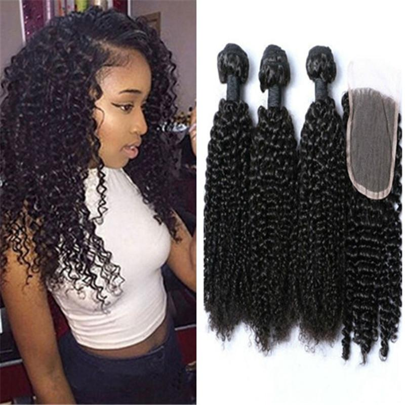 93e1c9f9c 2019 8a Brazilian Curly Hair 3 Bundles With 1 Top Lace Closure Free Part  Unprocessed From