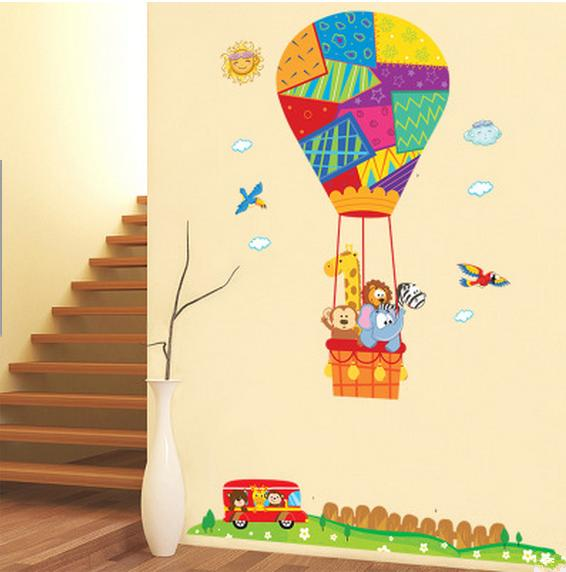 Hot air balloon cartoon animal wall stickers nursery kids bedroom removable decals childrens room sticker decor children wall decals children wall stickers