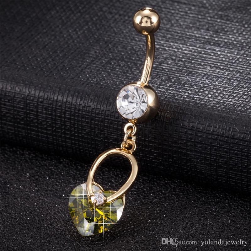 Sweet Delicate Gold Heart Belly Button Anillos Ombligo Ombligo Piercing Body Piercing Umbigo Body Jewelry para mujeres