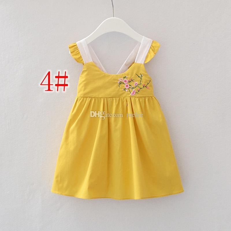 INS Kızlar Pamuk Dantel Elbise Çocuk Giyim Yaz Nakış Dantel Elbiseler Moda Kolsuz Elmas Prenses Elbise 9 Renkler ücretsiz gemi seçin