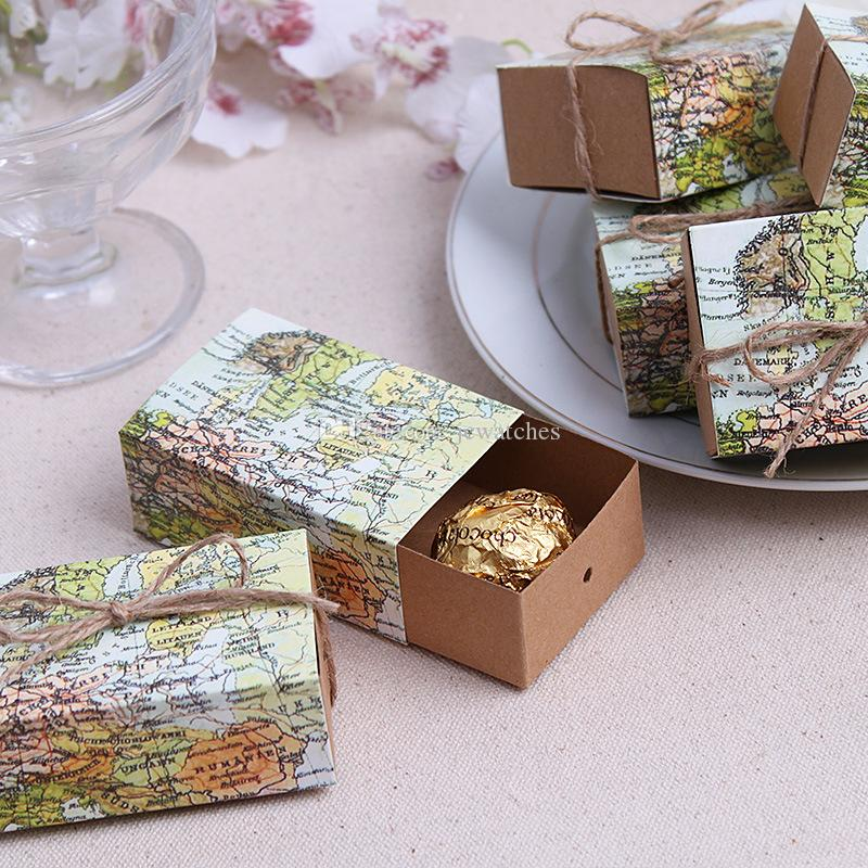 World Map Wedding Favors Boxes Wedding Candy