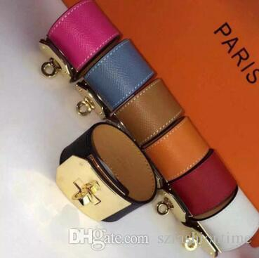 H Rotary buckle wide face leather bracelet kell bracelet H alphabet leather men and women palm pattern bracelet