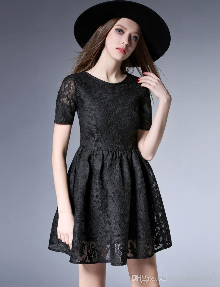 2019 2017 Little Black Dress Short Sleeves Hollow Embroidered Lace