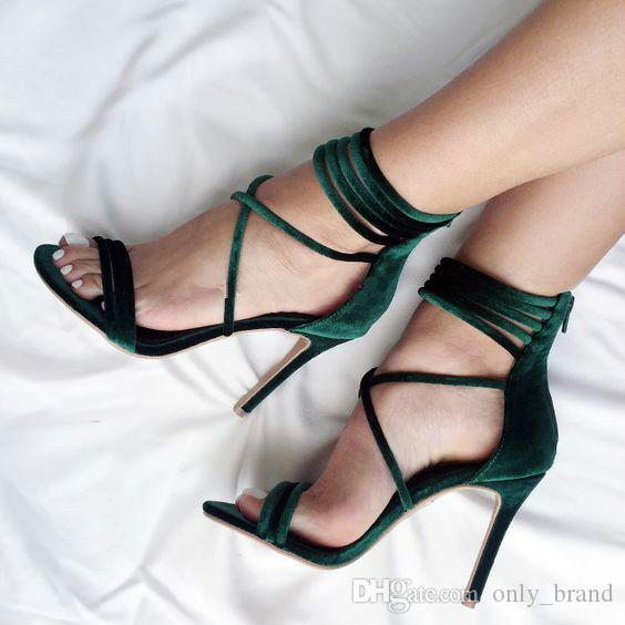 Roman Style New Solid Colors Cross Ankle Strap Sexy Fashion High-heeled sandals Choose Dark Green and Light Grey