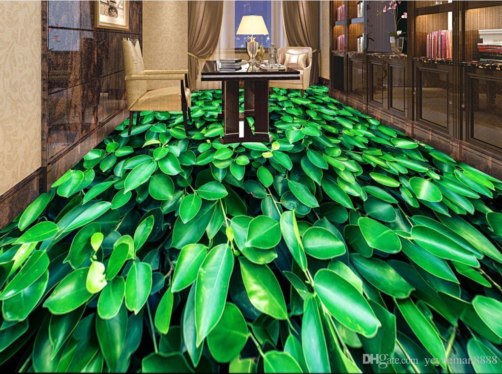 wallpaper luxus 3d flooring Custom 3d floors Waterfall lotus carp vinyl flooring wallpaper living room
