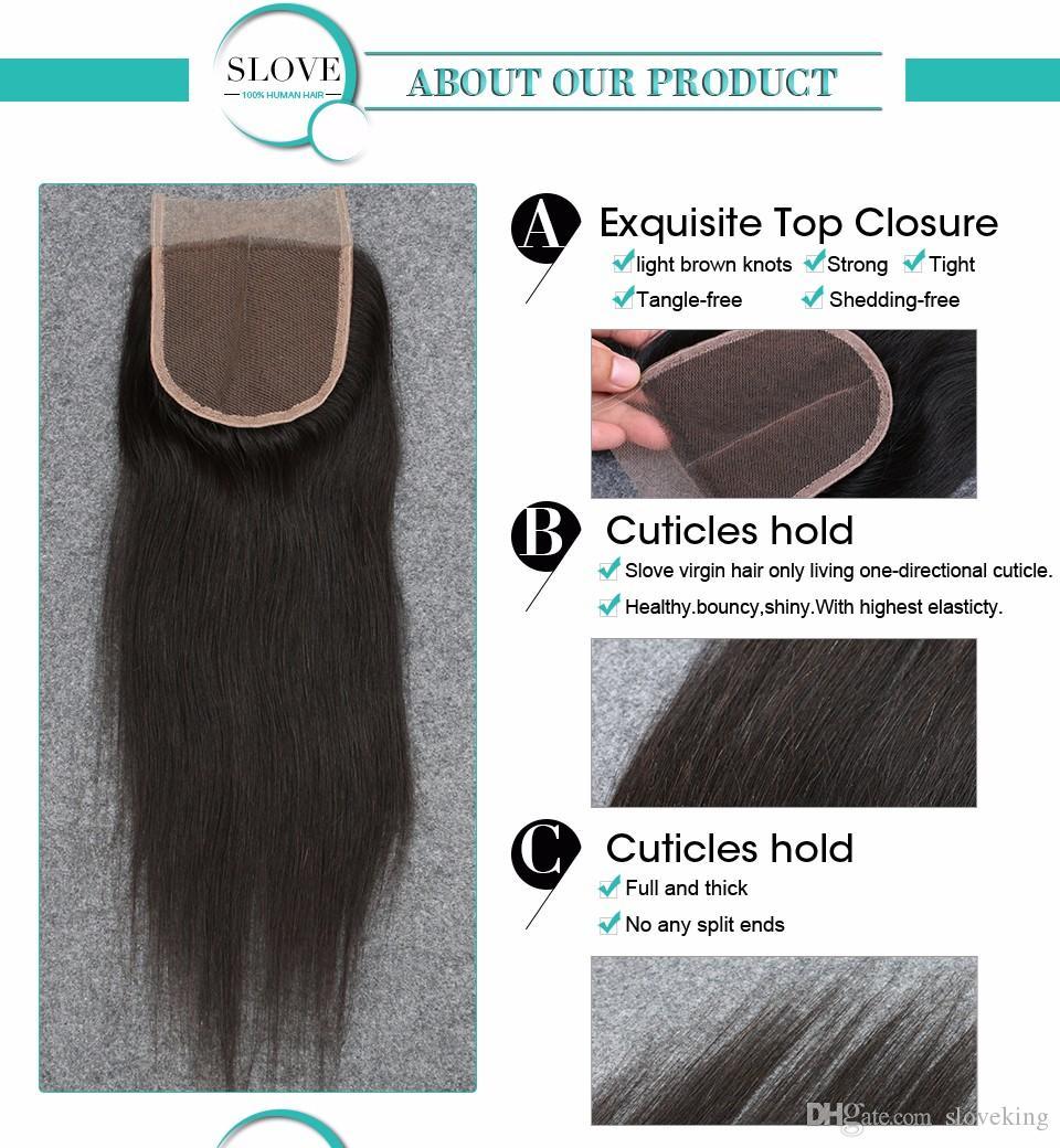 Virgin Peruvian Straight Lace Closure Bleached Knots Free Middle/3/Part Human Hair Closure Cheap 4x4 Lace Closure