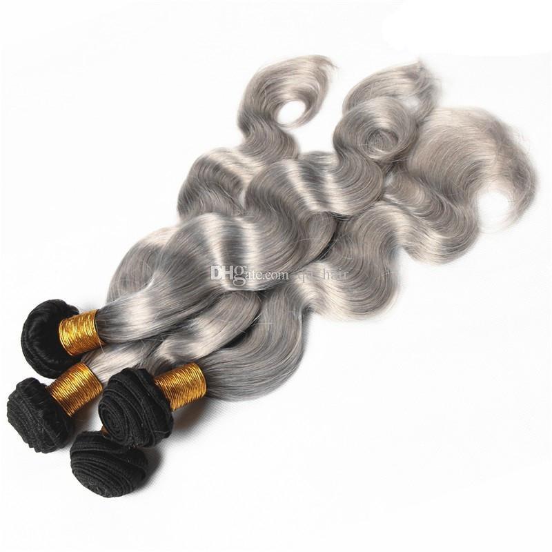 Silber Grau Ombre Indische Körperwelle Haarverlängerungen # 1B Grau Zwei Ton Ombre Haarbündel 4 Stücke viel Körperwelle Haarwebart