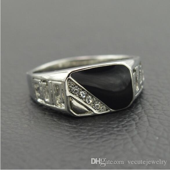 High Quality Man crystal made with Swarovski White Gold Plated CZ Diamond Black Enamel Men Finger Ring Oil Drop Male Ring