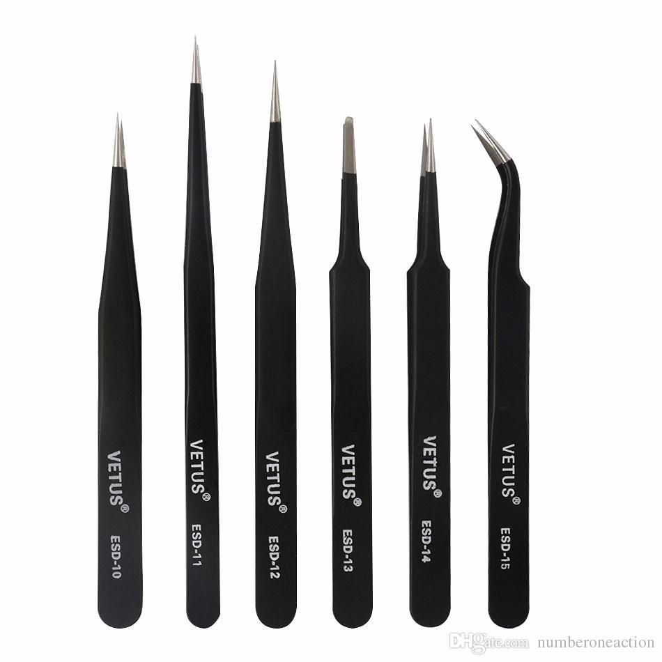 Vetus Precision Anti Static Tweezers Stainless Steel Tweezers Set for BGA Work Repair Tool ESD-10,11,12,13,14,15