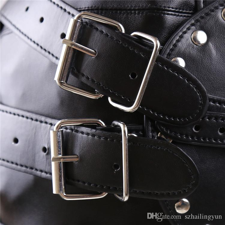Kinky Fetish Leather Slave Hoods Muzzles Stud Design Fetish BDSM Strict Bondage Gear Zipper Full Head Harness Mask