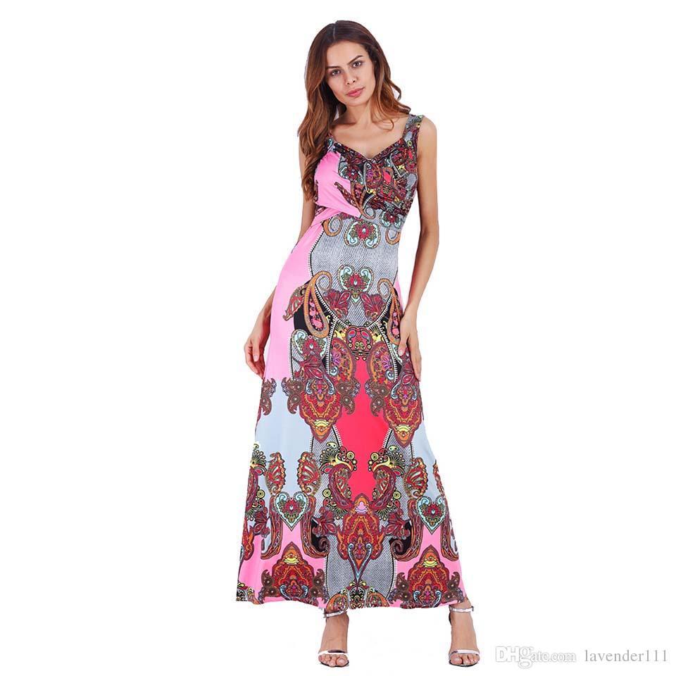 397218eef1c4 Floral Print Tank Chiffon Long Dress Women New Maxi Dresses Vestidos Sexy  Beach Summer Sundress Party African Dashiki Sexy Dress Denim Dress From ...
