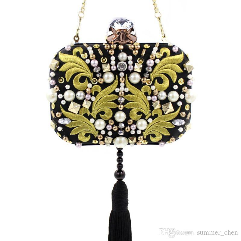 042aae39f308 Vintage Embroidery Diamonds Fashion Evening Bags Party Clutch ...