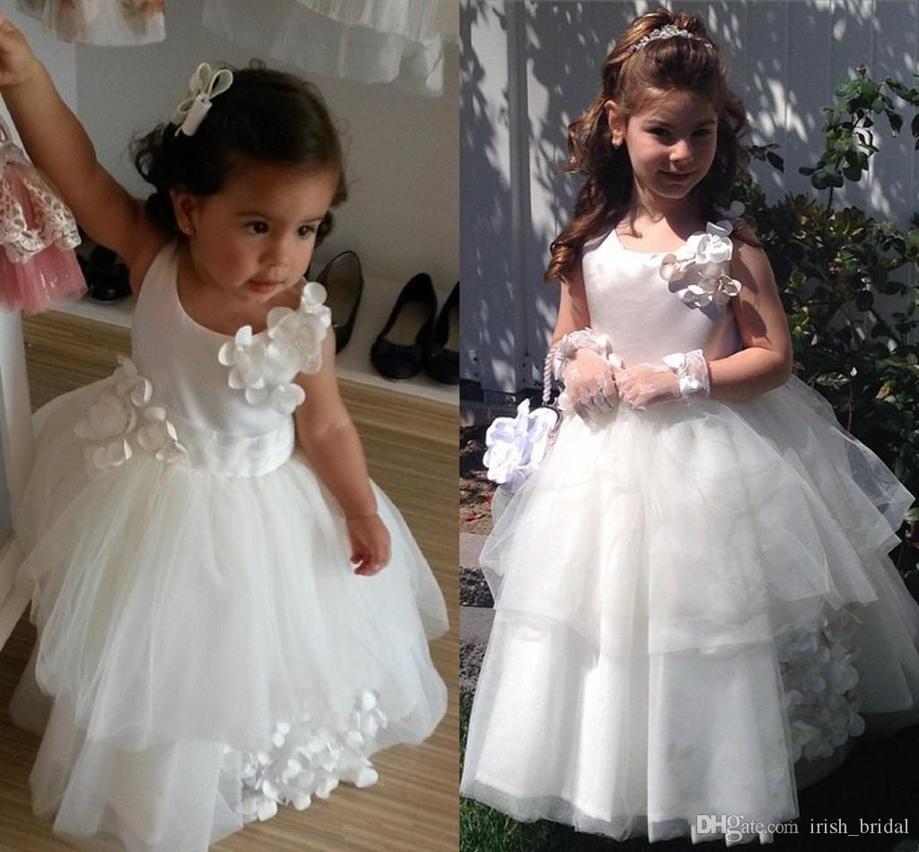 ede2f86fb0f Cute Satin Tulle Hand Made Flower Jewel Sleeveless Floor Length Tiers Beautiful  White Flower Girl Dresses Baby Blue Flower Girl Dresses Beach Wedding Flower  ...