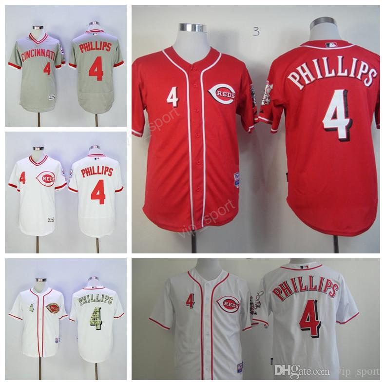 alternate cool base jersey red 2017 cincinnati reds 4 brandon phillips jersey sale 2017 men retro