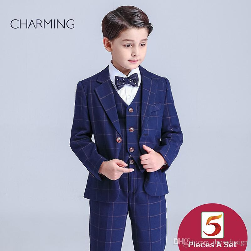 292a70b75c0 Brand New Boys Navy Blue Suit Long Sleeve Suit British Style Plaid Fabric Boys  Suit Discount Promotion From China Suppliers Boys Christening Suits Boys ...