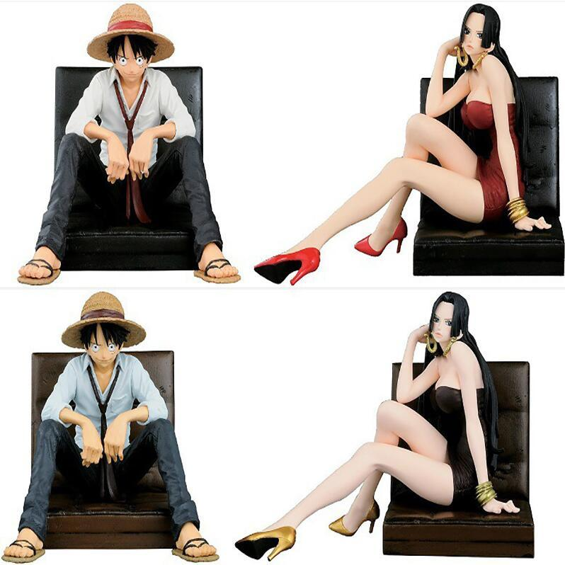 One Piece Luffy & Hancock 1/9 Scale Painted Sitting Sofa Ver. Luffy Doll PVC Action Figures Collectible Model Toys 12cm