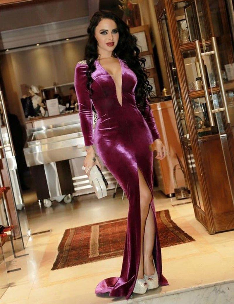 2017 Robe De Soiree Dubai Velvet Prom Dresses Fucsia High Slit Deep V cuello mangas largas Sexy sirena vestidos de noche