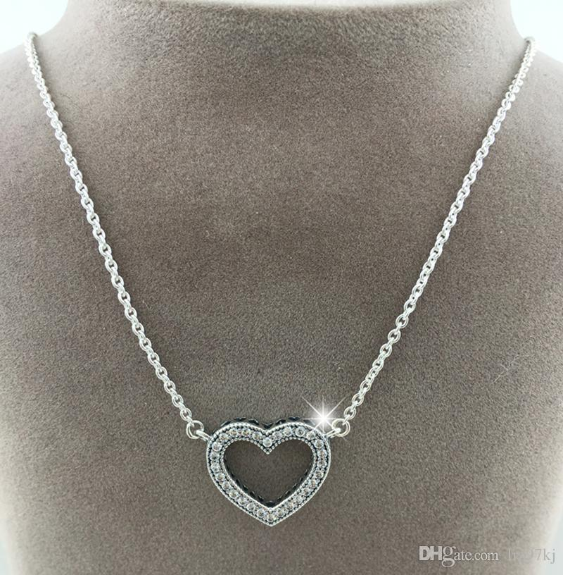 9ce967c14 High-quality 925 Sterling Silver Loving Hearts Necklaces with Clear ...