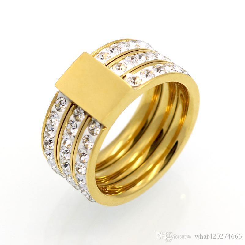 c2569606da8b Compre Marca Femenina Color Oro Zircon Crystal Titanium Anillos De Acero  Inoxidable Para Mujeres Hombres Joyería De La Boda Tres Capas Belleza  Anillos A ...