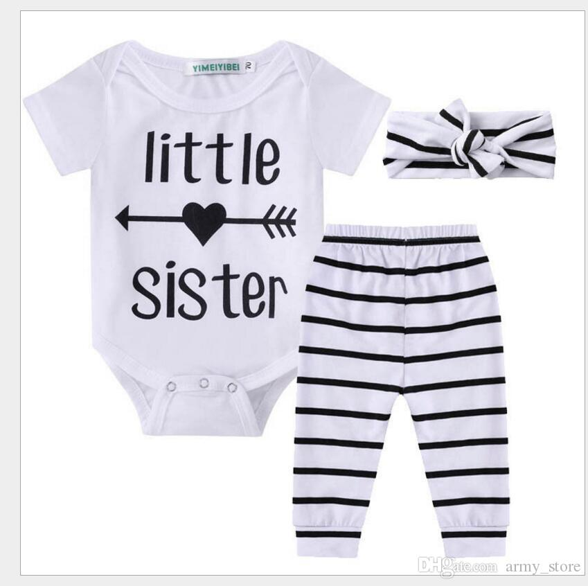 Set Newborn Baby Clothes Little Sister Print Baby Romper Bodysuit
