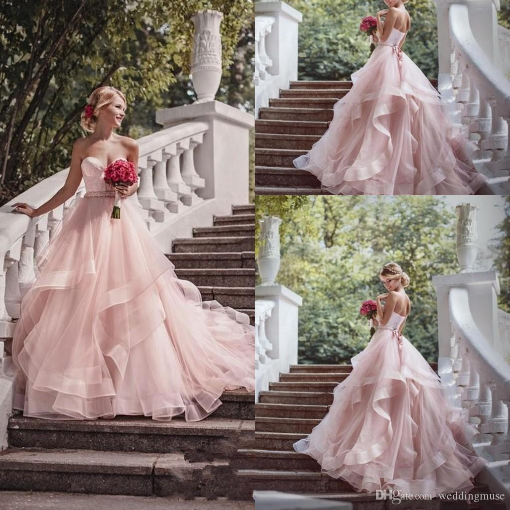 Princess Light Pink Lace Wedding Dress With Off The: Discount 2018 Blush Pink Garden Wedding Dresses With