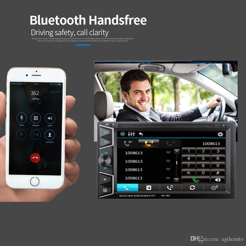 6.2 pulgadas 2 DIN en el tablero Bluetooth HD Pantalla táctil del coche Reproductor de CD y DVD Receptor de radio FM con control remoto inalámbrico CMO_229