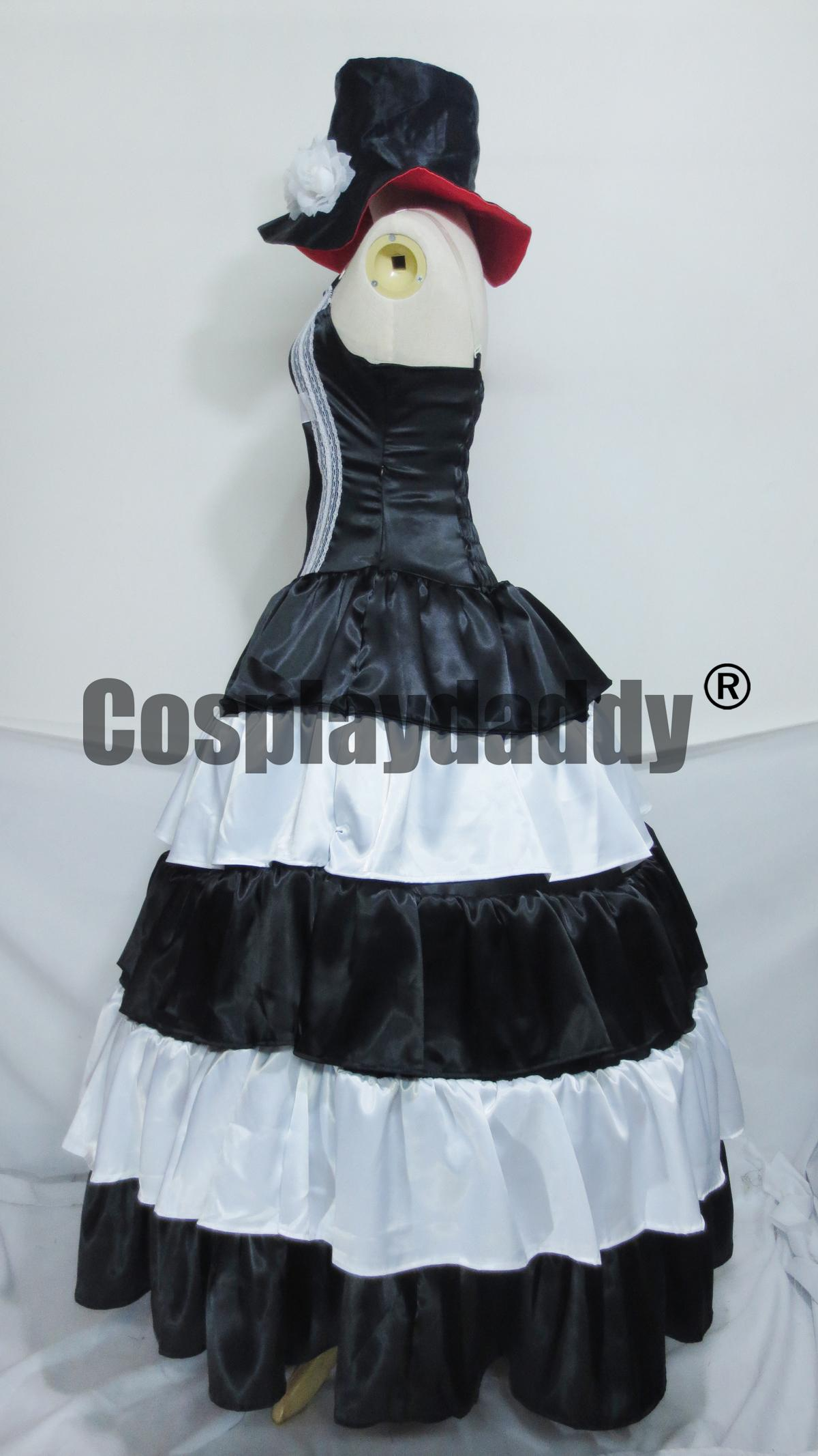 One Piece Ghost Princess Perona Black White Long Dress Cosplay Costume