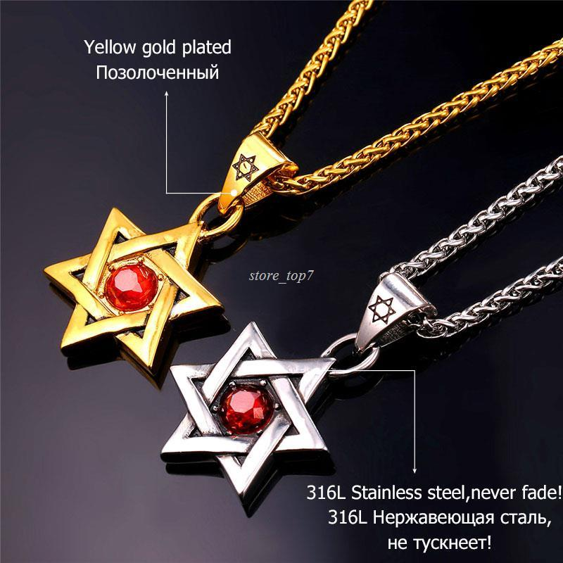 Wholesale Jewish Jewelry Magen Red Star Of David Necklace Gold Color