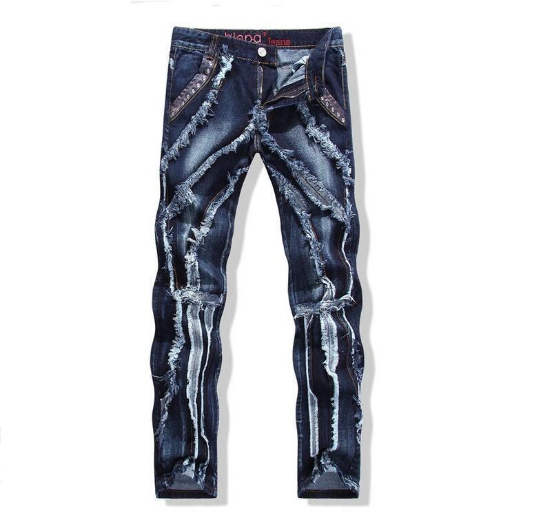 Jeans blu da uomo in stile punk, rivetti in jeans strappati, slim fit strappati, pantaloni skinny in cotone, spedizione gratuita