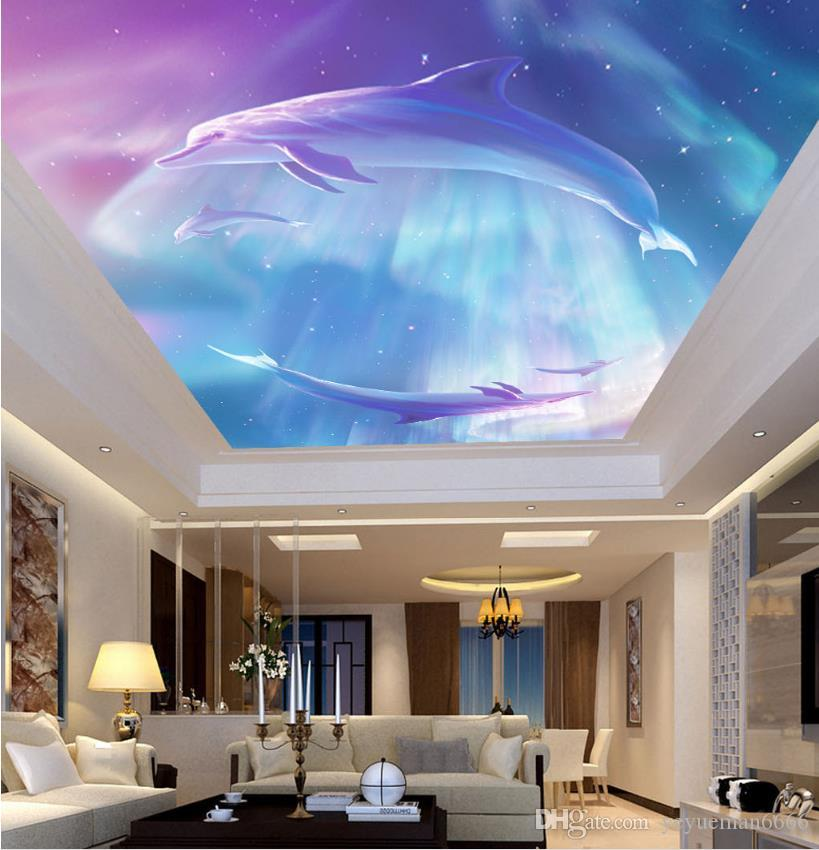 Papel de parede 3d animaux dauphins peinture de bande dessinée plafond peintures murales papier peint pour enfants chambre peinture à l'huile papier peint plafond 3d