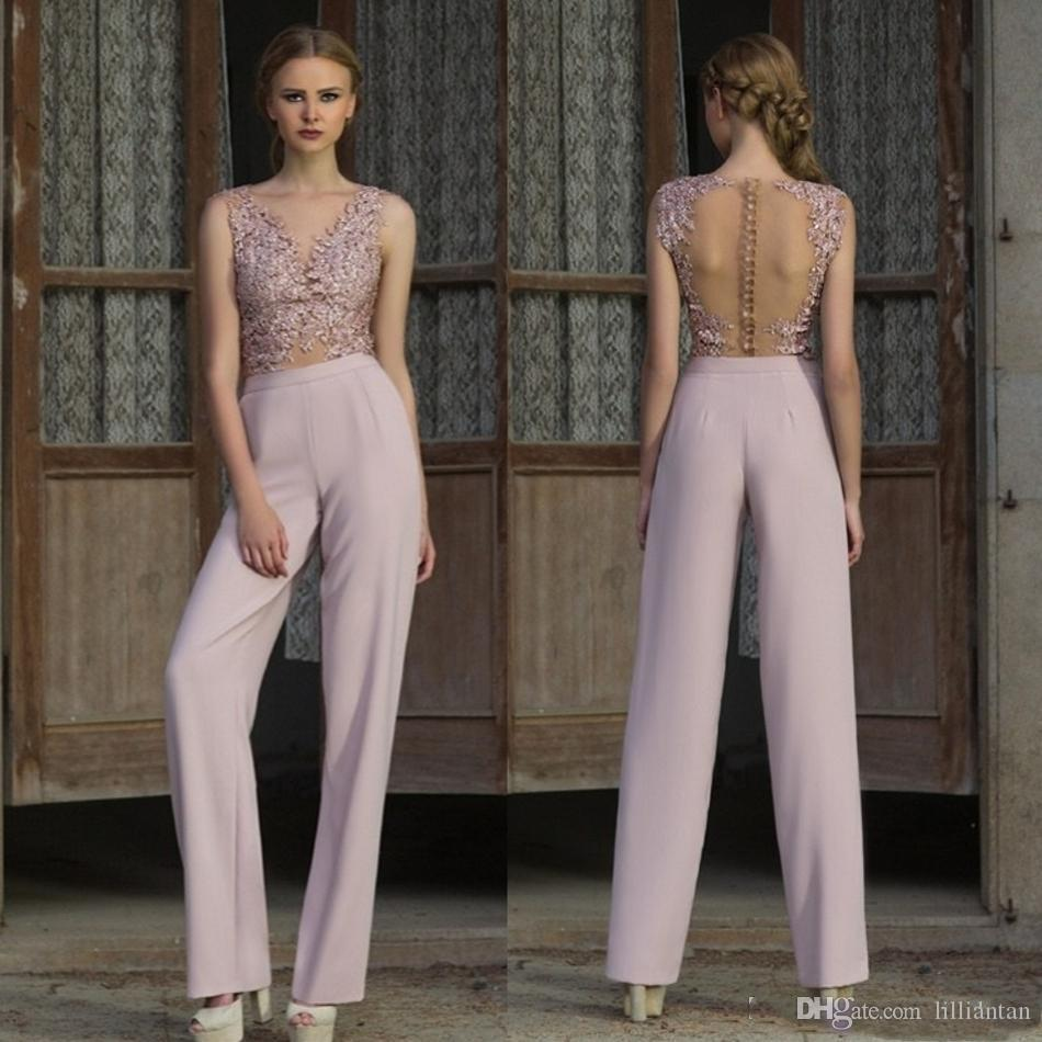 9ccdd2daf884 Elegant Lace Pant Suits Evening Dresses Illusion Lace Top Prom Dresses Jumpsuit  Sheer Back Party Dress Vestido De Festa Evening Gowns Custom Designer ...