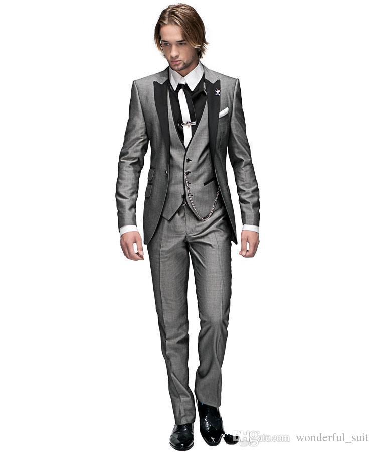 Custom Made Groom Tuxedos Light Grey Peak Black Lapel Best man Groomsman Men Wedding Suits Prom/Form/BridegroomJacket+Pants+Tie+Vest J37